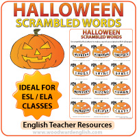 Halloween Scrambled Words in English