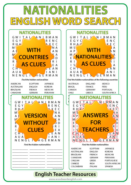 Nationalities in English Word Search - ESL Teacher Resource